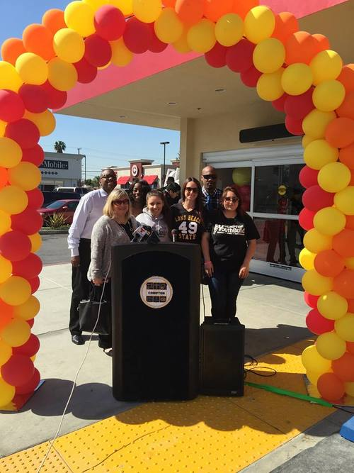 Guerrero family, Owners of the Grocery Outlet donates $2,500 to Compton YouthBuild during grand opening ceremony